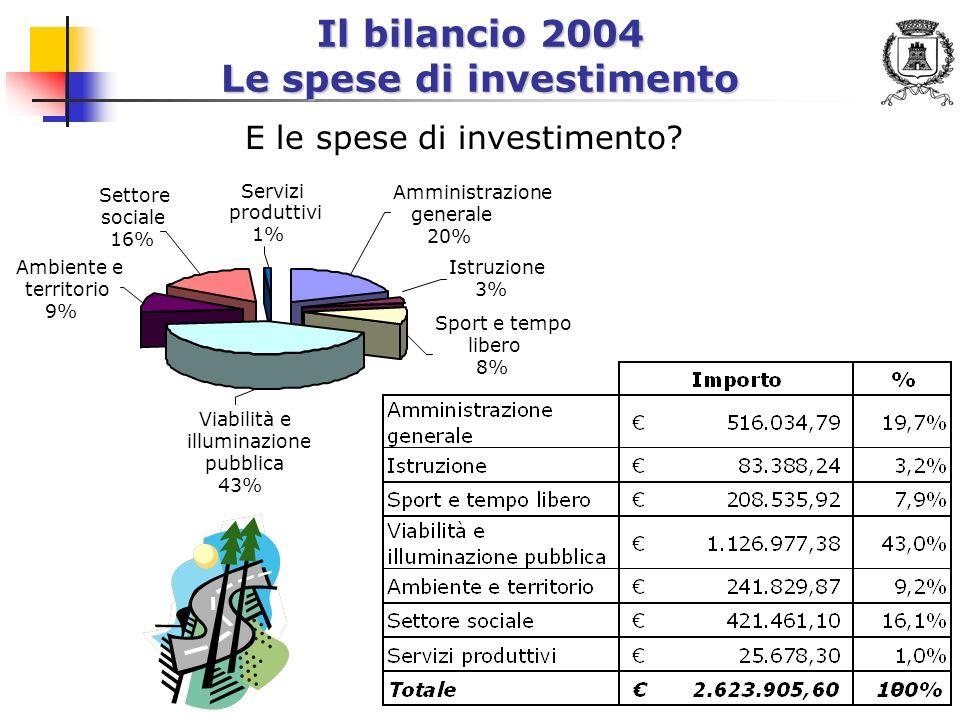 10 Il bilancio 2004 Le spese di investimento - Progetti rilevanti