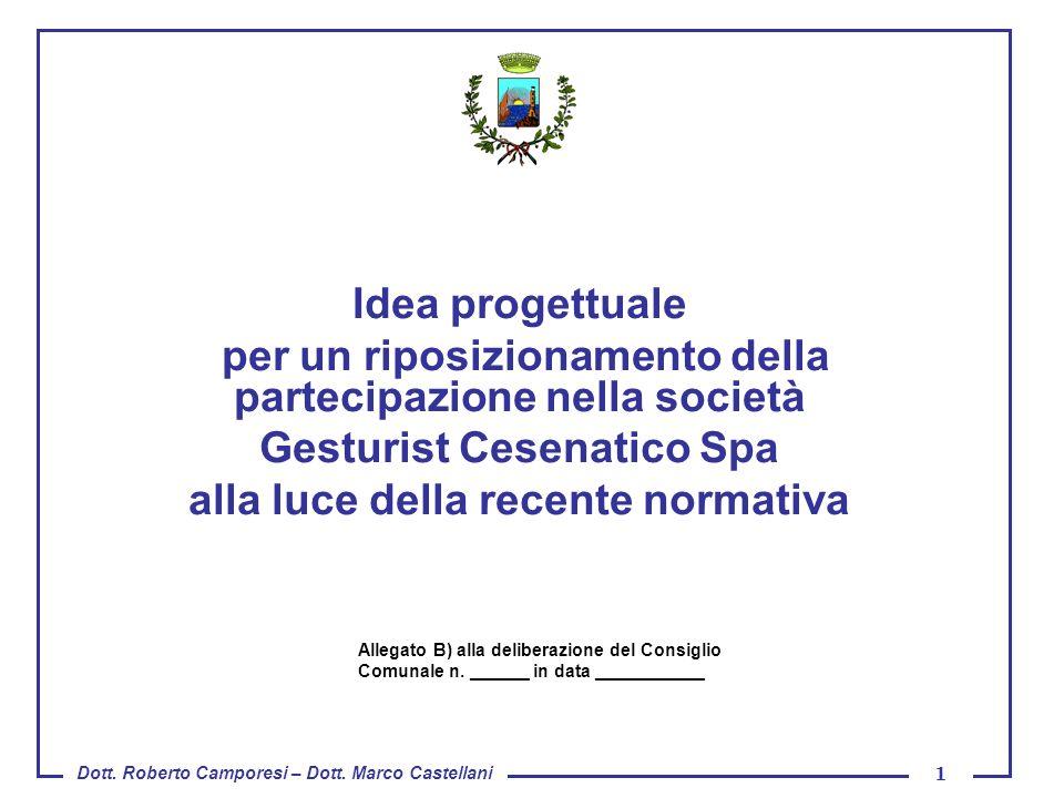 Dott. Roberto Camporesi – Dott. Marco Castellani 1 Idea progettuale per un riposizionamento della partecipazione nella società Gesturist Cesenatico Sp