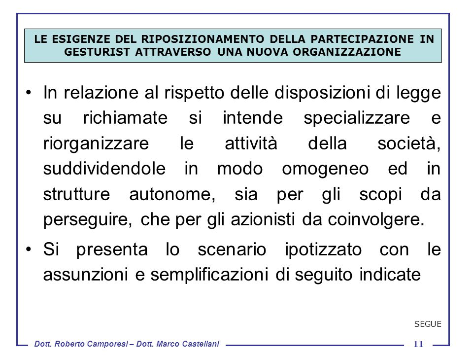 Dott. Roberto Camporesi – Dott. Marco Castellani 11 In relazione al rispetto delle disposizioni di legge su richiamate si intende specializzare e rior