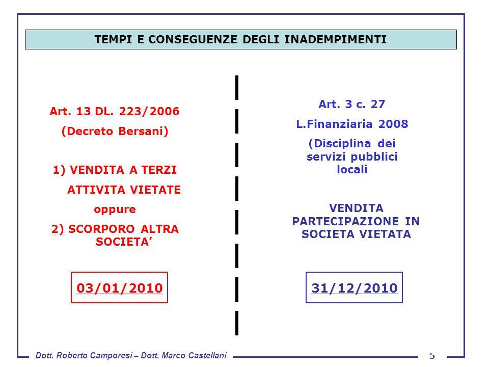 Dott. Roberto Camporesi – Dott. Marco Castellani 5 TEMPI E CONSEGUENZE DEGLI INADEMPIMENTI Art. 13 DL. 223/2006 (Decreto Bersani) 1) VENDITA A TERZI A