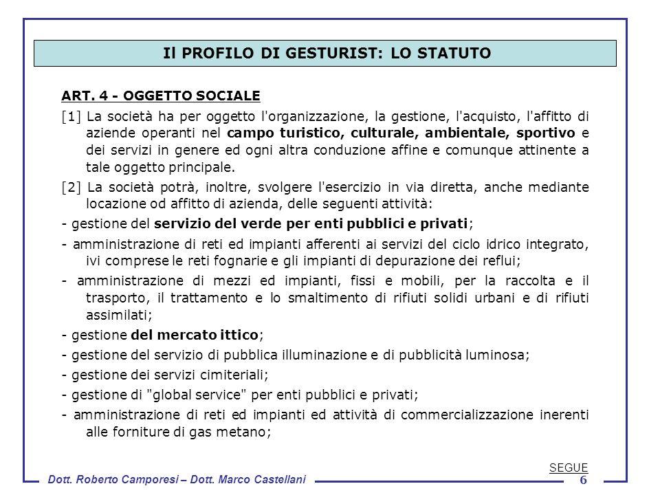 Dott. Roberto Camporesi – Dott. Marco Castellani 6 ART. 4 - OGGETTO SOCIALE [1] La società ha per oggetto l'organizzazione, la gestione, l'acquisto, l