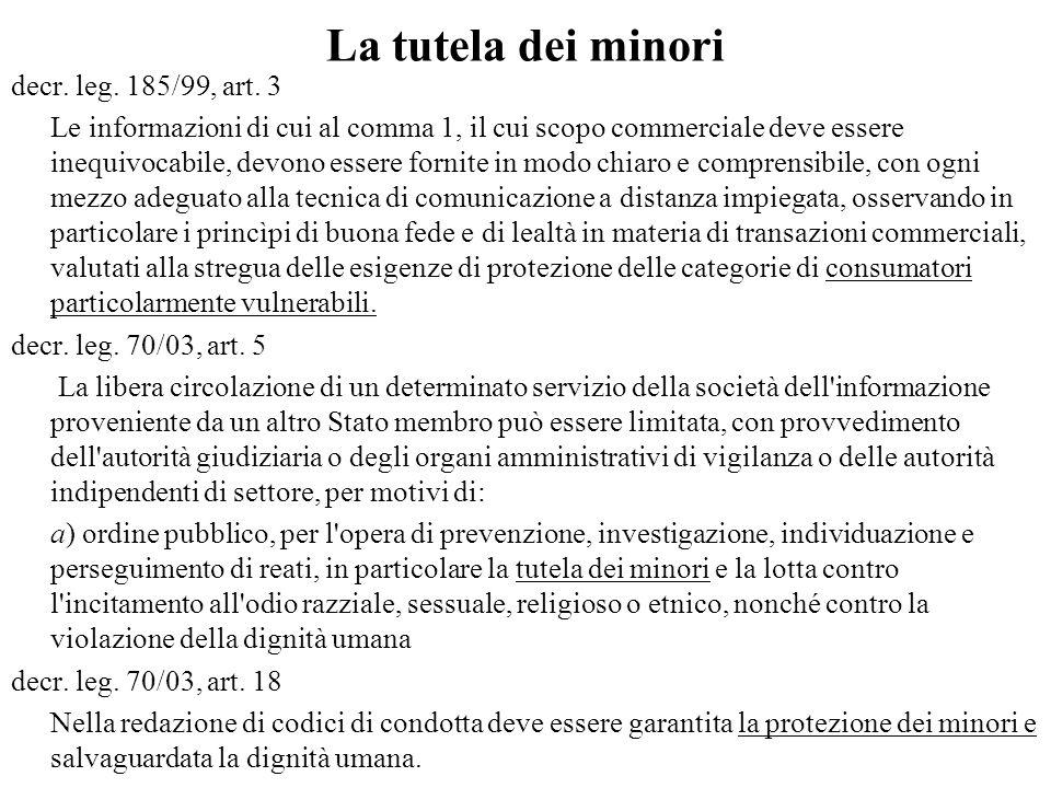 La tutela dei minori decr.leg. 185/99, art.
