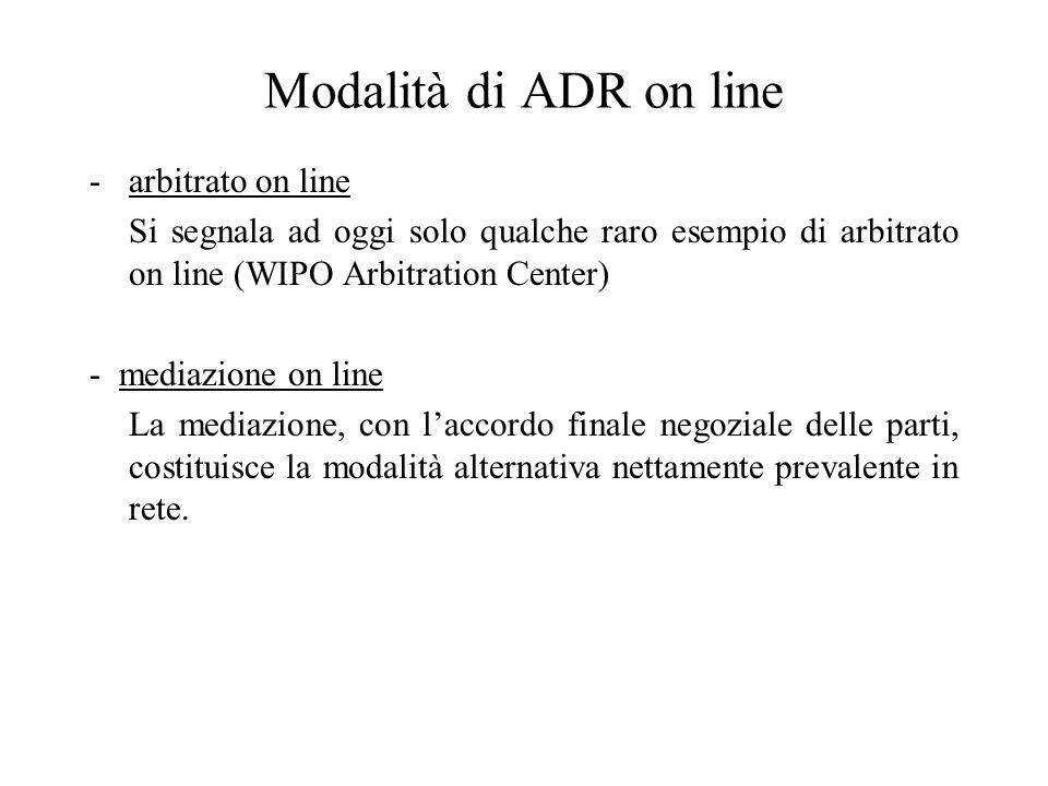 Modalità di ADR on line -arbitrato on line Si segnala ad oggi solo qualche raro esempio di arbitrato on line (WIPO Arbitration Center) - mediazione on line La mediazione, con laccordo finale negoziale delle parti, costituisce la modalità alternativa nettamente prevalente in rete.