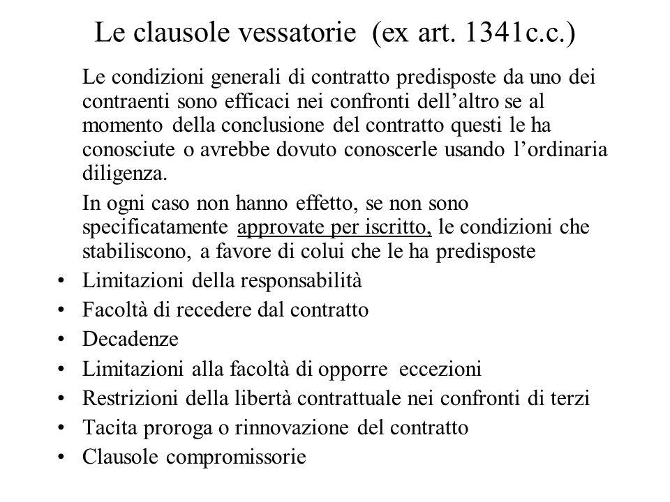 Le clausole vessatorie (ex art.