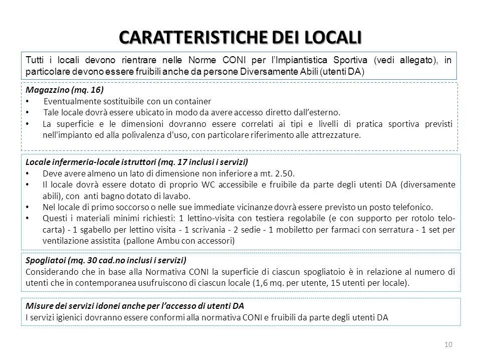 CARATTERISTICHE DEI LOCALI Magazzino (mq. 16) Eventualmente sostituibile con un container Tale locale dovrà essere ubicato in modo da avere accesso di