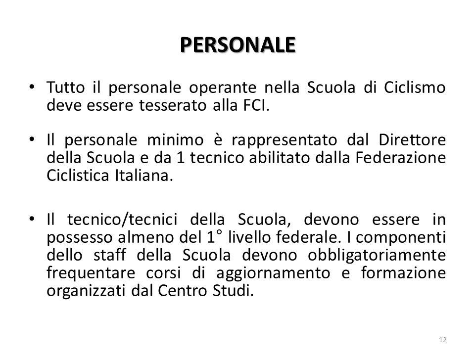 PERSONALE Tutto il personale operante nella Scuola di Ciclismo deve essere tesserato alla FCI. Il personale minimo è rappresentato dal Direttore della