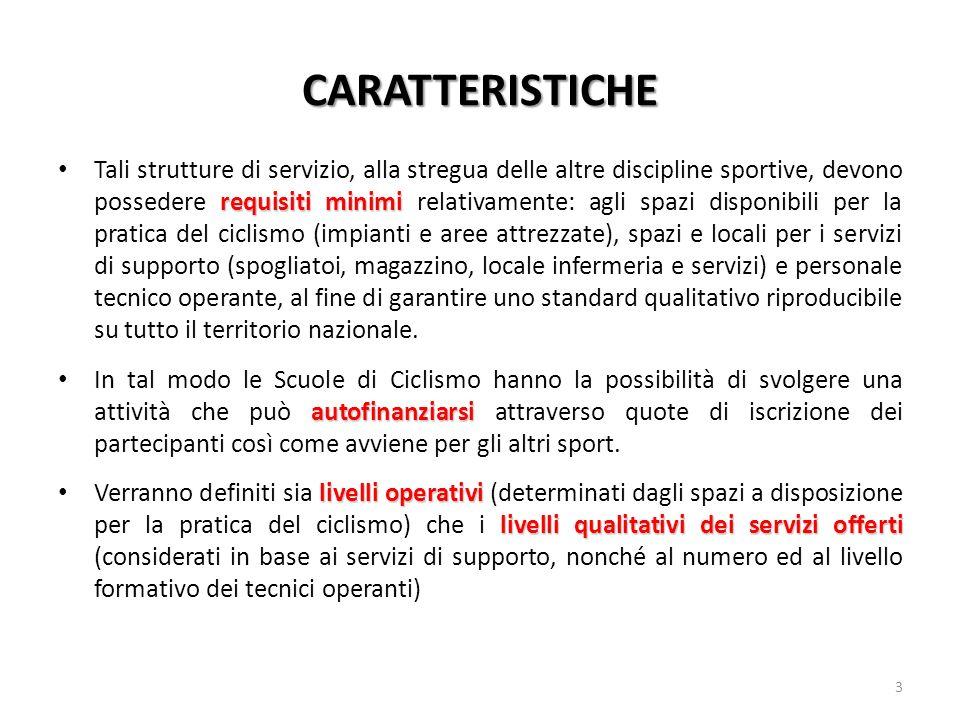 CARATTERISTICHE requisiti minimi Tali strutture di servizio, alla stregua delle altre discipline sportive, devono possedere requisiti minimi relativam