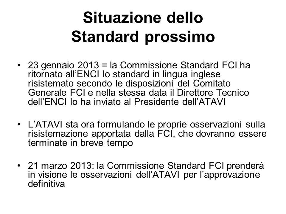 Situazione dello Standard prossimo 23 gennaio 2013 = la Commissione Standard FCI ha ritornato allENCI lo standard in lingua inglese risistemato second