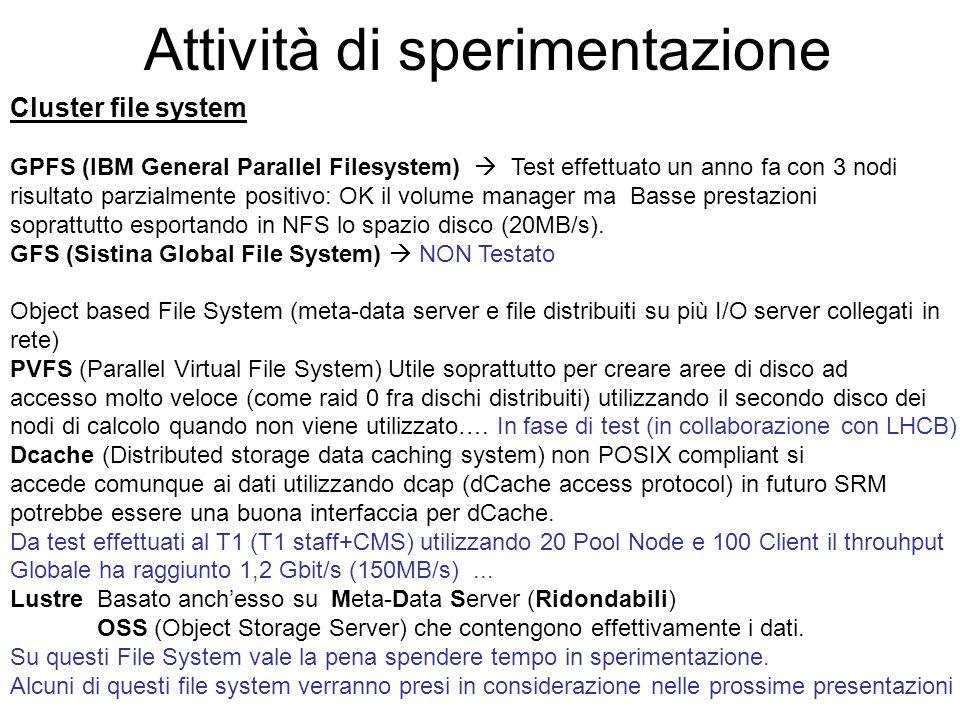 Attività di sperimentazione Cluster file system GPFS (IBM General Parallel Filesystem) Test effettuato un anno fa con 3 nodi risultato parzialmente po
