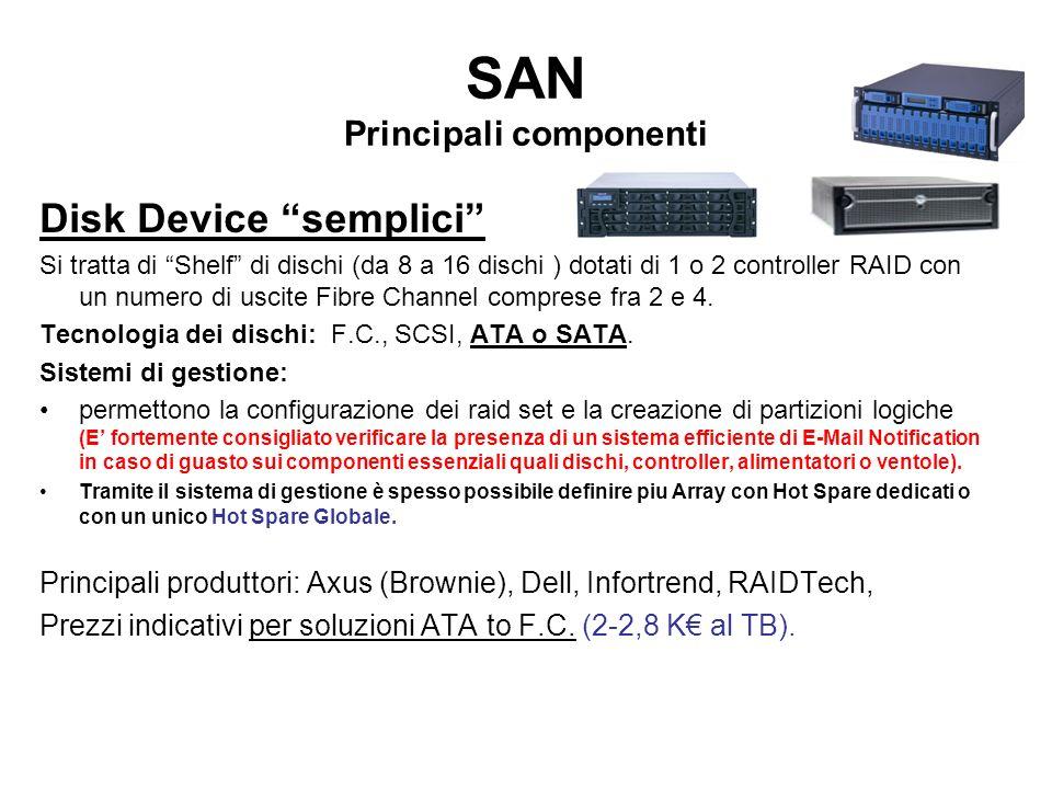 SAN Principali componenti Disk Device semplici Si tratta di Shelf di dischi (da 8 a 16 dischi ) dotati di 1 o 2 controller RAID con un numero di uscit