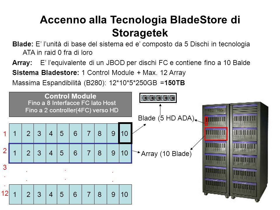 Accenno alla Tecnologia BladeStore di Storagetek Blade: E lunità di base del sistema ed e composto da 5 Dischi in tecnologia ATA in raid 0 fra di loro