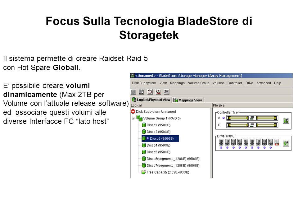 Focus Sulla Tecnologia BladeStore di Storagetek Il sistema permette di creare Raidset Raid 5 con Hot Spare Globali. E possibile creare volumi dinamica