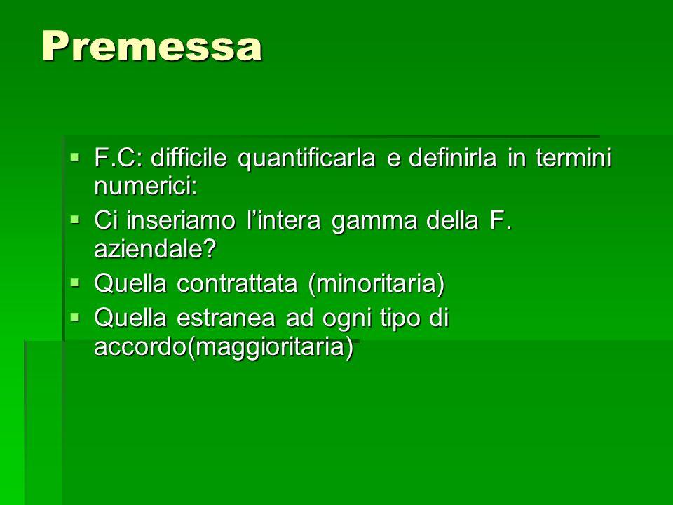 Premessa F.C: difficile quantificarla e definirla in termini numerici: F.C: difficile quantificarla e definirla in termini numerici: Ci inseriamo lint