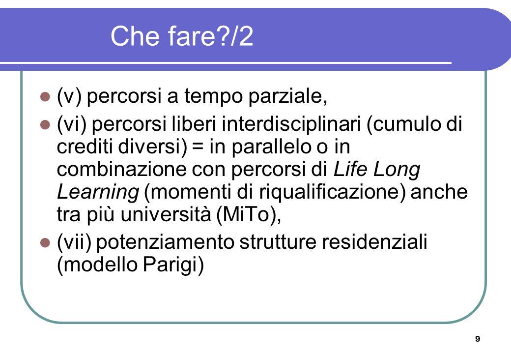 9 Che fare /2 (v) percorsi a tempo parziale, (vi) percorsi liberi interdisciplinari (cumulo di crediti diversi) = in parallelo o in combinazione con percorsi di Life Long Learning (momenti di riqualificazione) anche tra più università (MiTo), (vii) potenziamento strutture residenziali (modello Parigi)