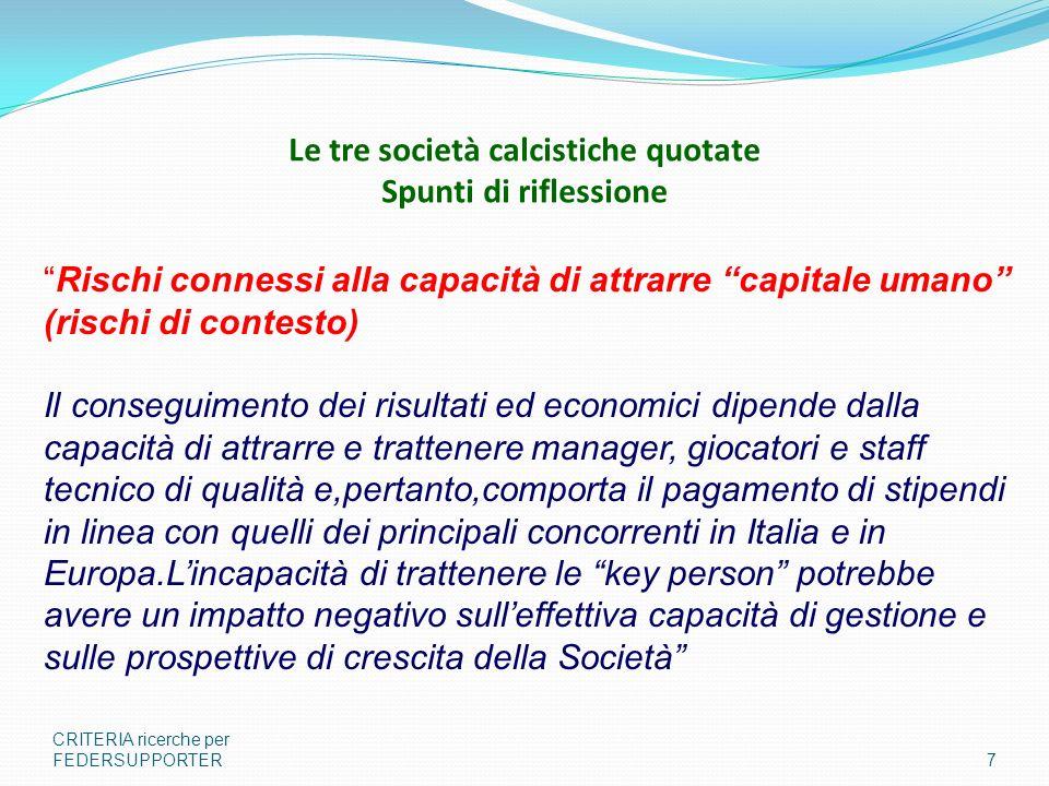 Le tre società calcistiche quotate Spunti di riflessione CRITERIA ricerche per FEDERSUPPORTER7 Rischi connessi alla capacità di attrarre capitale uman