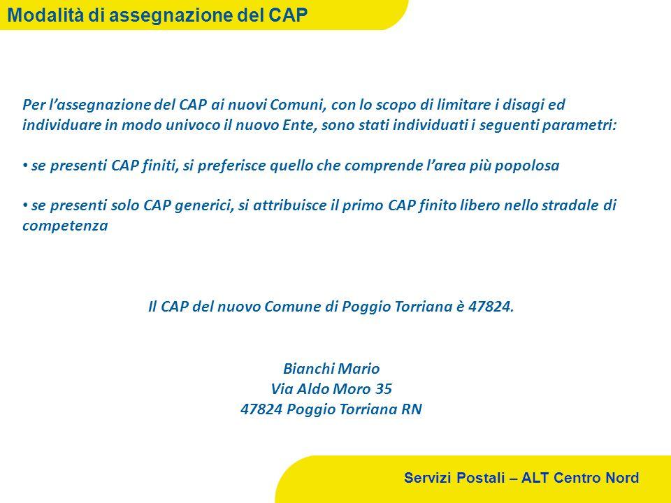 Servizi Postali – ALT Centro Nord Modalità di assegnazione del CAP Per lassegnazione del CAP ai nuovi Comuni, con lo scopo di limitare i disagi ed ind