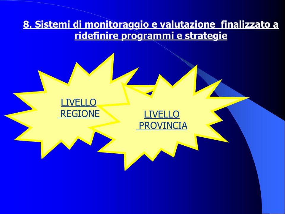 8. Sistemi di monitoraggio e valutazione finalizzato a ridefinire programmi e strategie LIVELLO REGIONE LIVELLO PROVINCIA