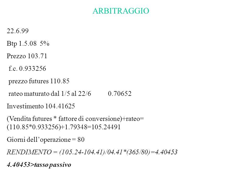 ARBITRAGGIO 22.6.99 Btp 1.5.08 5% Prezzo 103.71 f.c. 0.933256 prezzo futures 110.85 rateo maturato dal 1/5 al 22/6 0.70652 Investimento 104.41625 (Ven