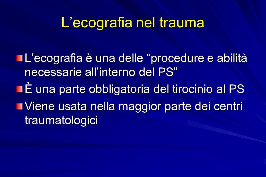 Lecografia nel trauma Lecografia è una delle procedure e abilità necessarie allinterno del PS È una parte obbligatoria del tirocinio al PS Viene usata