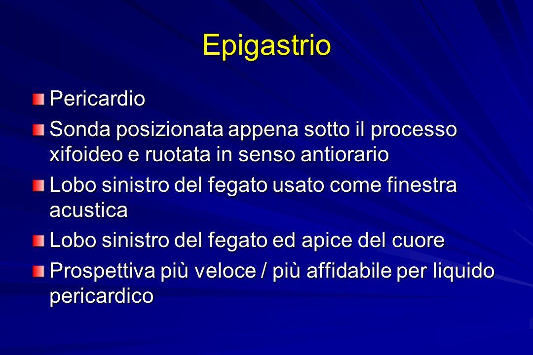 Epigastrio Pericardio Sonda posizionata appena sotto il processo xifoideo e ruotata in senso antiorario Lobo sinistro del fegato usato come finestra a