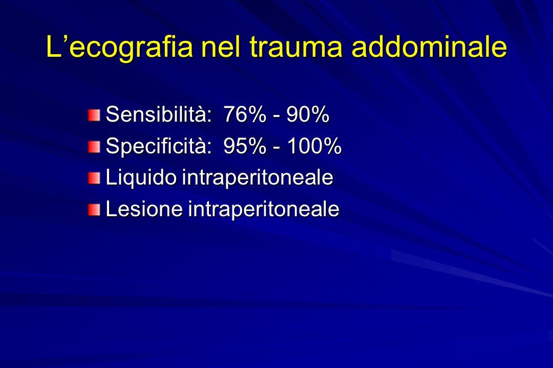Lecografia nel trauma addominale Sensibilità: 76% - 90% Specificità: 95% - 100% Liquido intraperitoneale Lesione intraperitoneale