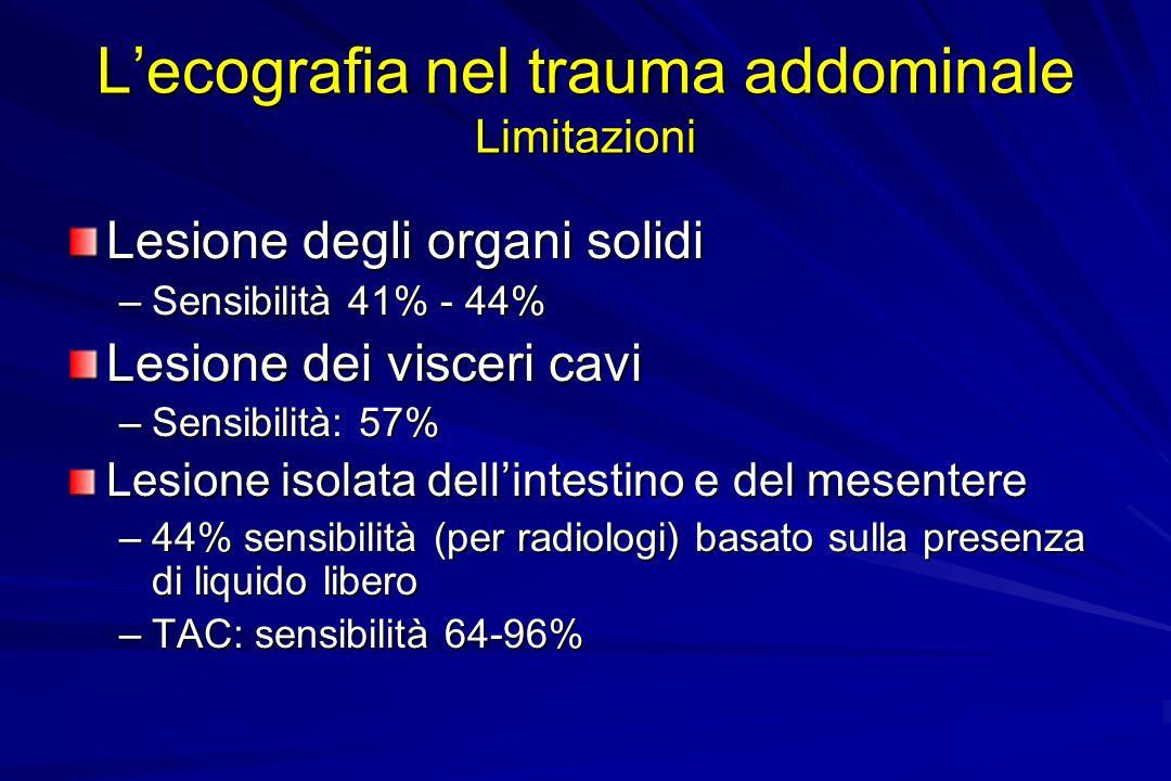 Lecografia nel trauma addominale Limitazioni Lesione degli organi solidi –Sensibilità 41% - 44% Lesione dei visceri cavi –Sensibilità: 57% Lesione iso