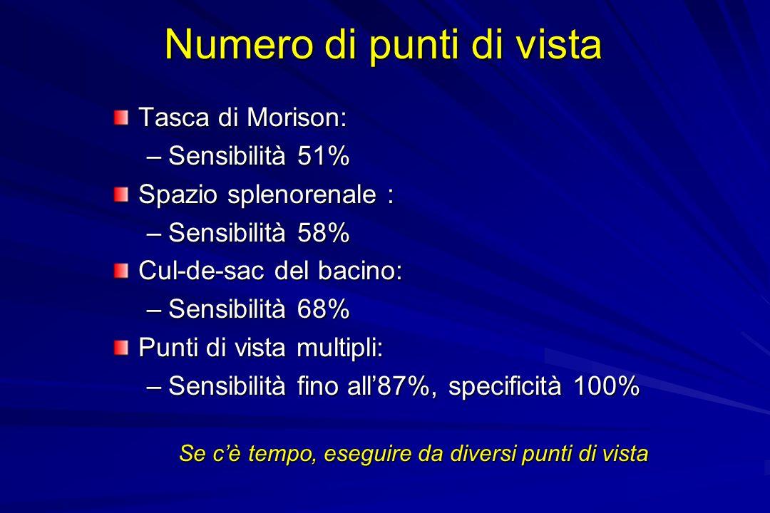 Numero di punti di vista Tasca di Morison: –Sensibilità 51% Spazio splenorenale : –Sensibilità 58% Cul-de-sac del bacino: –Sensibilità 68% Punti di vi