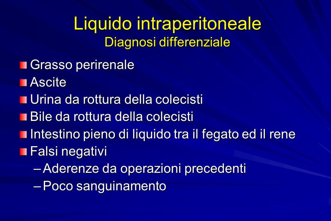 Liquido intraperitoneale Diagnosi differenziale Grasso perirenale Ascite Urina da rottura della colecisti Bile da rottura della colecisti Intestino pi