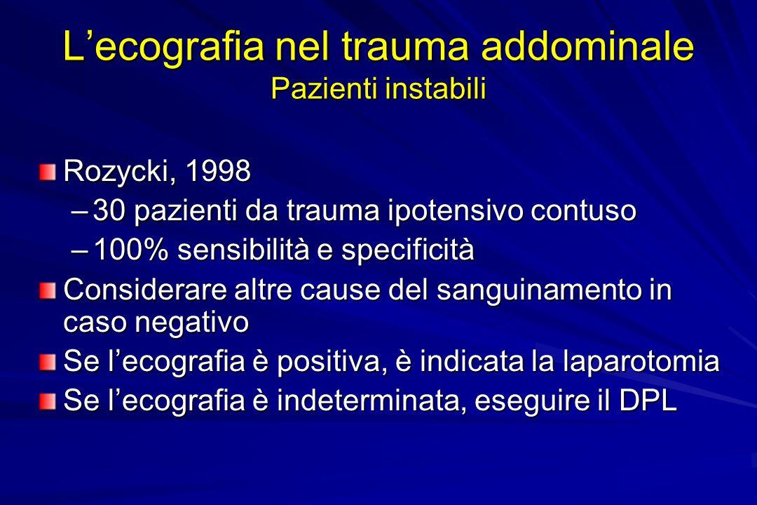 Lecografia nel trauma addominale Pazienti instabili Rozycki, 1998 –30 pazienti da trauma ipotensivo contuso –100% sensibilità e specificità Considerar