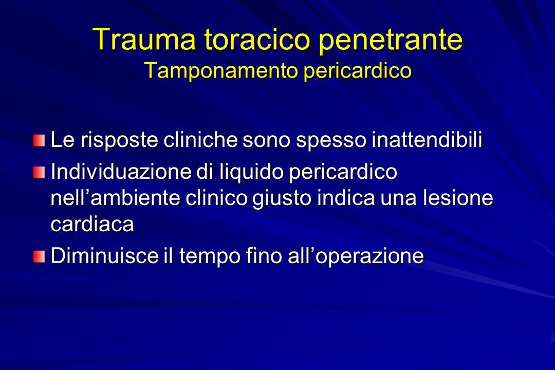 Trauma toracico penetrante Tamponamento pericardico Le risposte cliniche sono spesso inattendibili Individuazione di liquido pericardico nellambiente