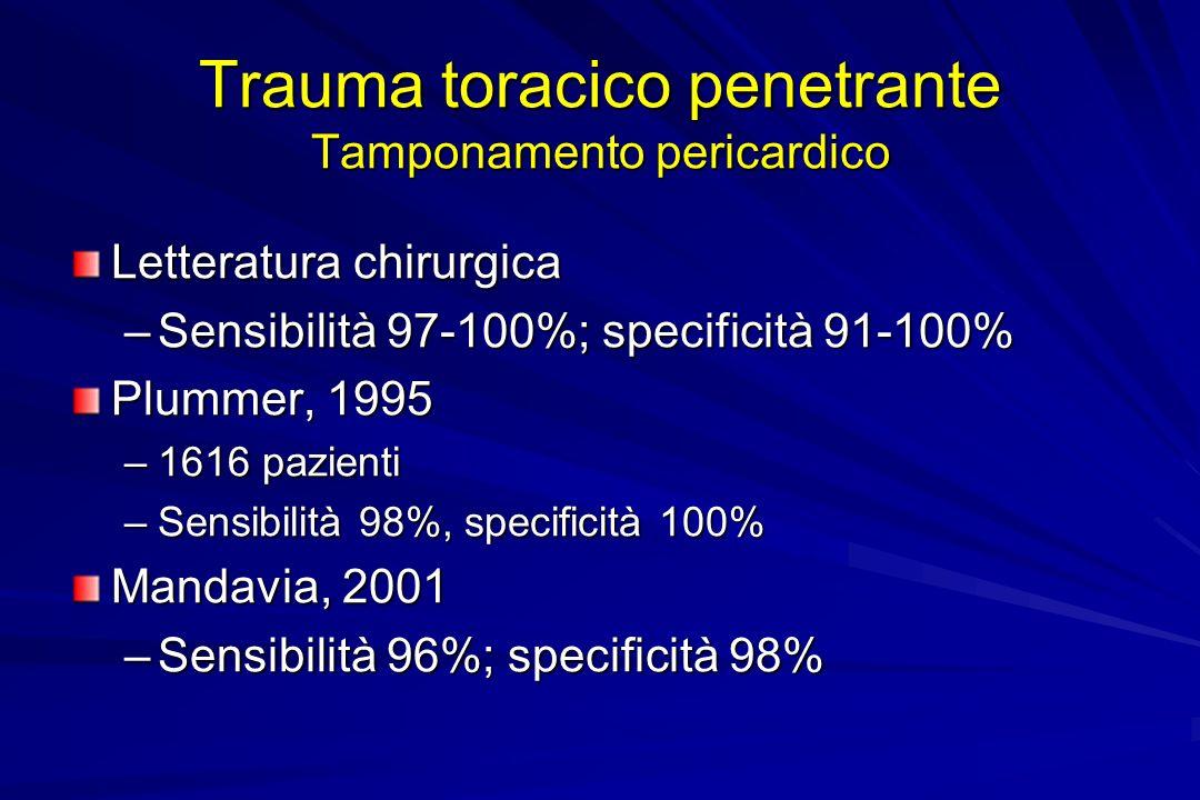 Trauma toracico penetrante Tamponamento pericardico Letteratura chirurgica –Sensibilità 97-100%; specificità 91-100% Plummer, 1995 –1616 pazienti –Sen