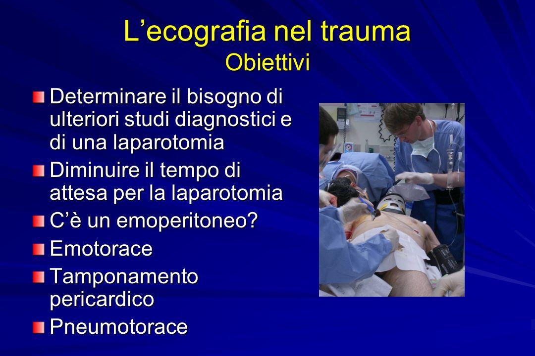 Lecografia nel trauma Obiettivi Determinare il bisogno di ulteriori studi diagnostici e di una laparotomia Diminuire il tempo di attesa per la laparot