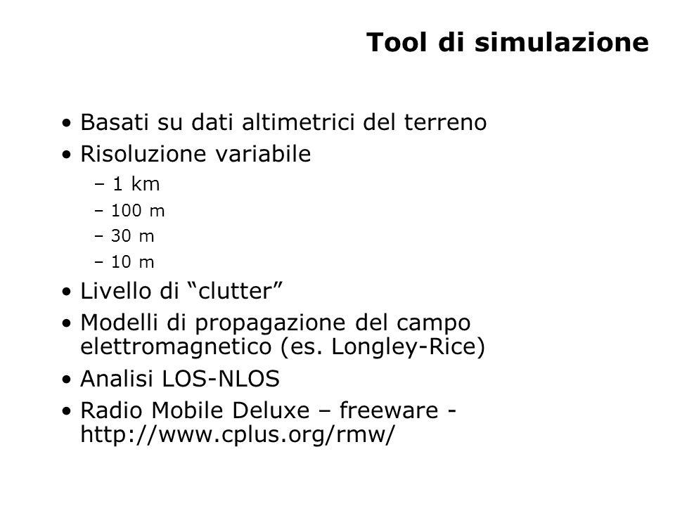 Tool di simulazione Basati su dati altimetrici del terreno Risoluzione variabile – 1 km – 100 m – 30 m – 10 m Livello di clutter Modelli di propagazione del campo elettromagnetico (es.