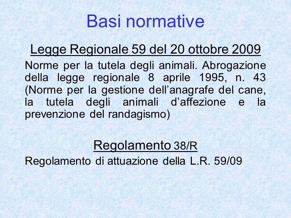 Basi normative Legge Regionale 59 del 20 ottobre 2009 Norme per la tutela degli animali. Abrogazione della legge regionale 8 aprile 1995, n. 43 (Norme