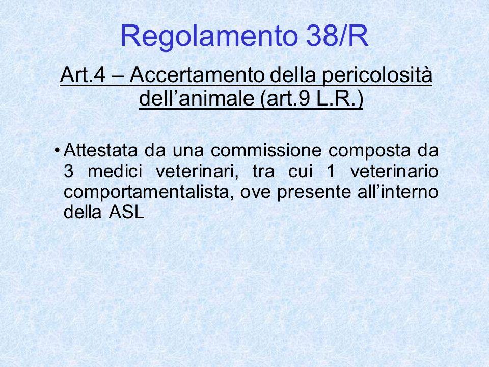 Regolamento 38/R Art.4 – Accertamento della pericolosità dellanimale (art.9 L.R.) Attestata da una commissione composta da 3 medici veterinari, tra cu