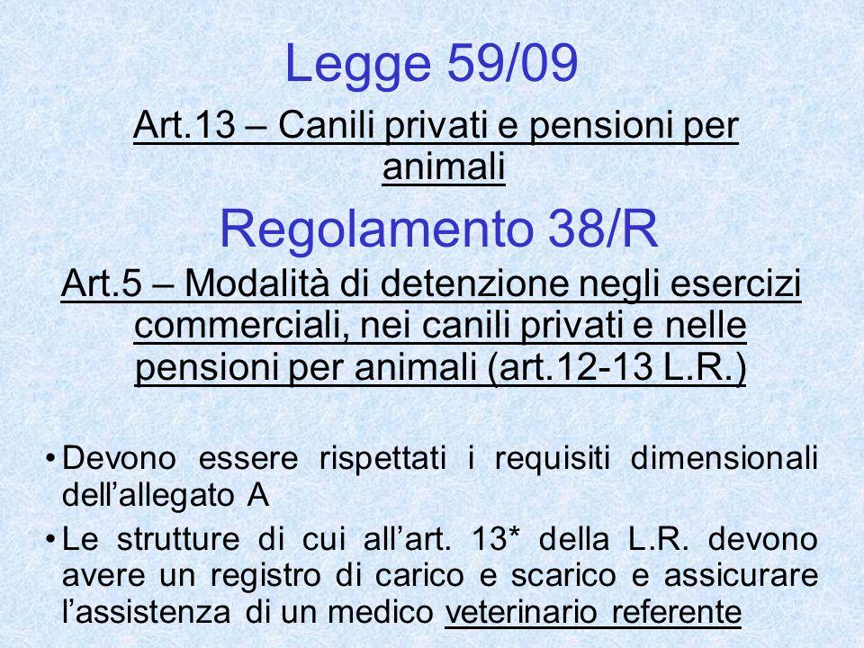 Legge 59/09 Art.13 – Canili privati e pensioni per animali Regolamento 38/R Art.5 – Modalità di detenzione negli esercizi commerciali, nei canili priv