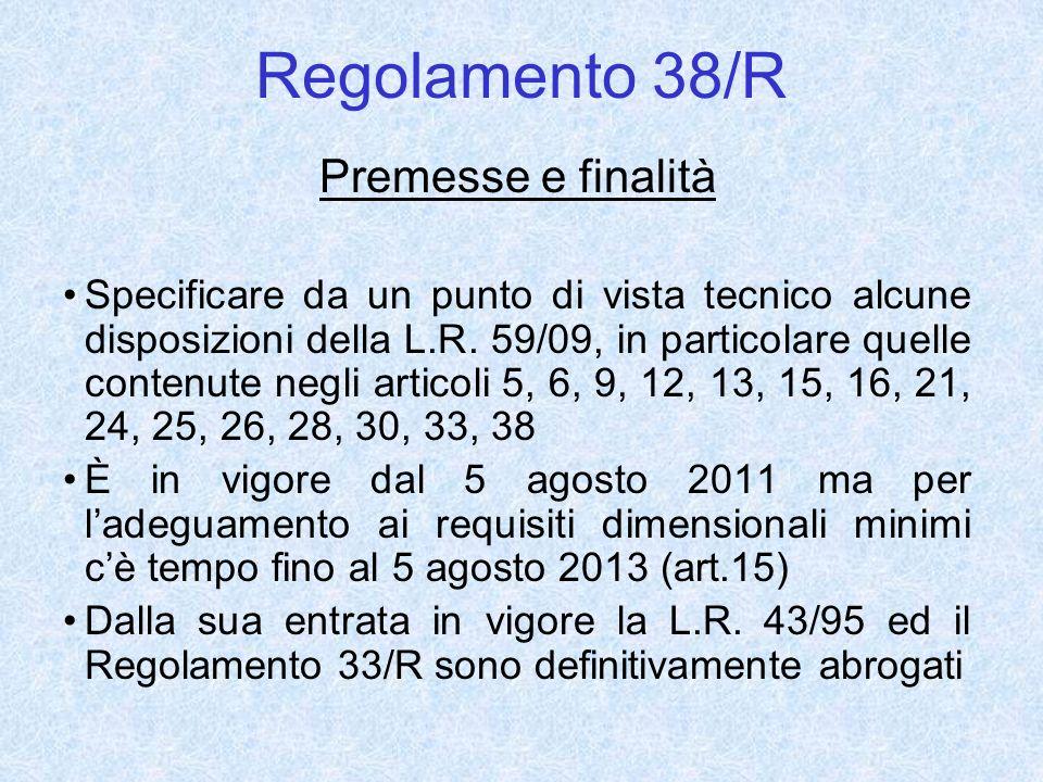 Regolamento 38/R Premesse e finalità Specificare da un punto di vista tecnico alcune disposizioni della L.R. 59/09, in particolare quelle contenute ne