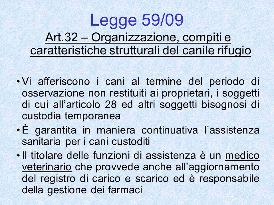 Legge 59/09 Art.32 – Organizzazione, compiti e caratteristiche strutturali del canile rifugio Vi afferiscono i cani al termine del periodo di osservaz