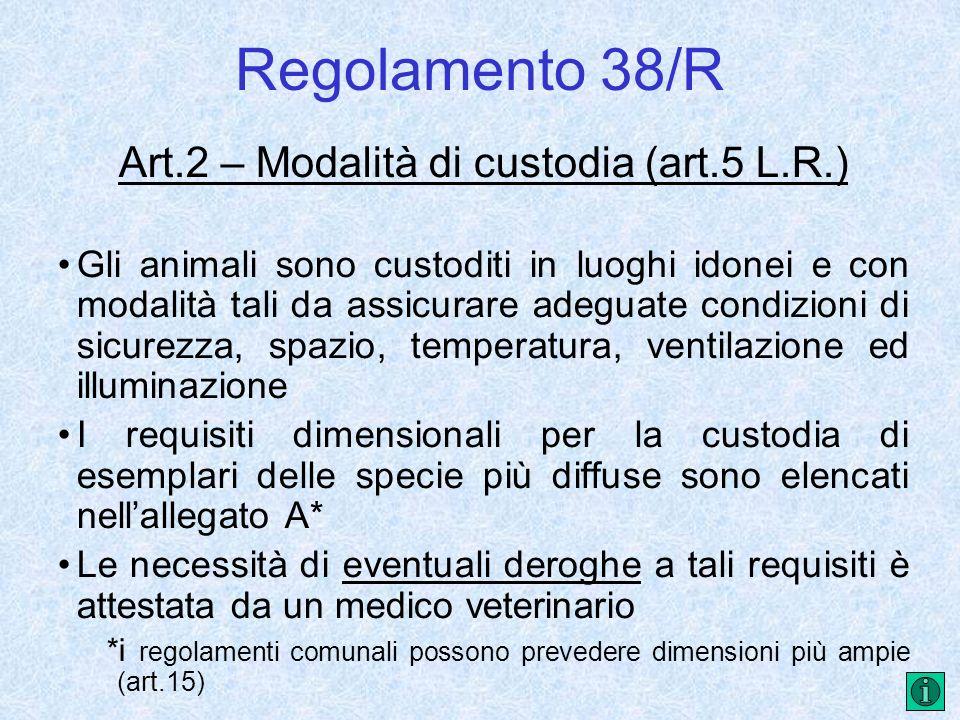 Regolamento 38/R Art.2 – Modalità di custodia (art.5 L.R.) Gli animali sono custoditi in luoghi idonei e con modalità tali da assicurare adeguate cond