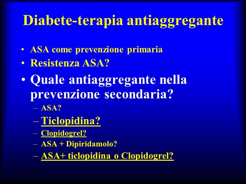 Diabete-terapia antiaggregante ASA come prevenzione primaria Resistenza ASA? Quale antiaggregante nella prevenzione secondaria? –ASA? –Ticlopidina? –C