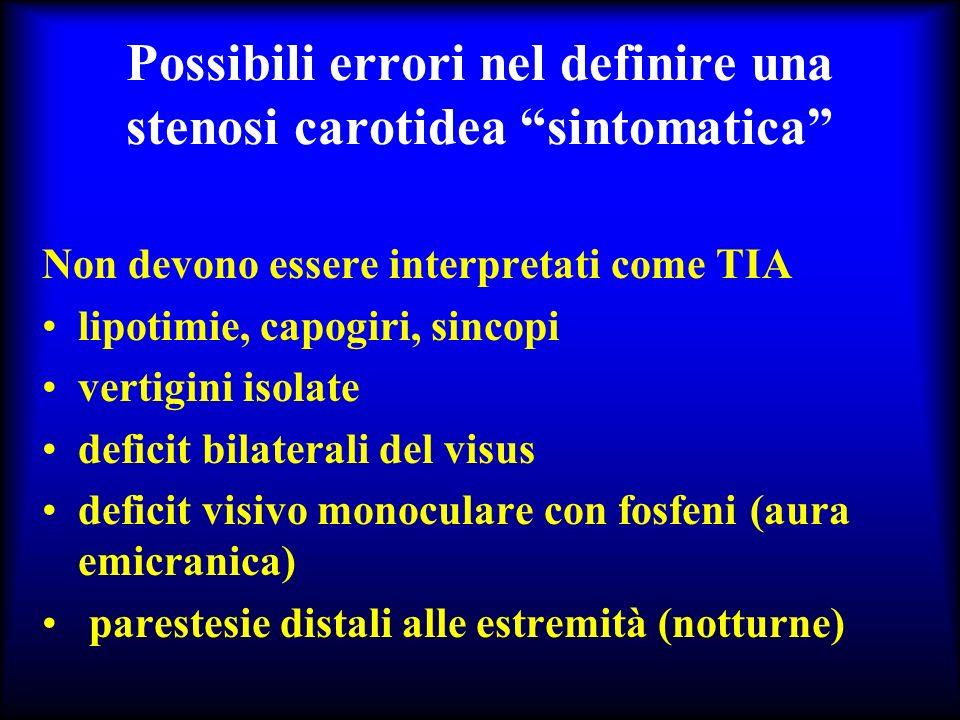 Possibili errori nel definire una stenosi carotidea sintomatica Non devono essere interpretati come TIA lipotimie, capogiri, sincopi vertigini isolate