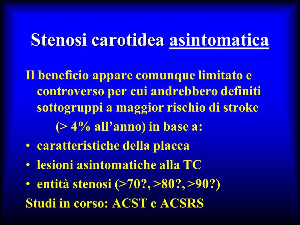 Stenosi carotidea Stenosi carotidea asintomatica Il beneficio appare comunque limitato e controverso per cui andrebbero definiti sottogruppi a maggior