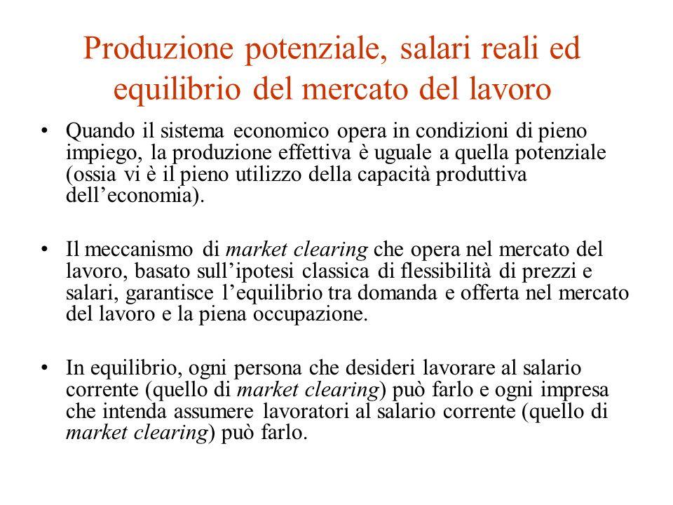 La funzione di produzione Se la forza lavoro e lefficienza del lavoro sono mantenute costanti, il PIL reale aumenta allaumentare dello stock di capitale.