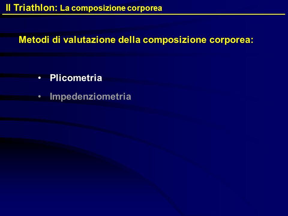 Metodi di valutazione della composizione corporea: Plicometria Impedenziometria Il Triathlon: La composizione corporea