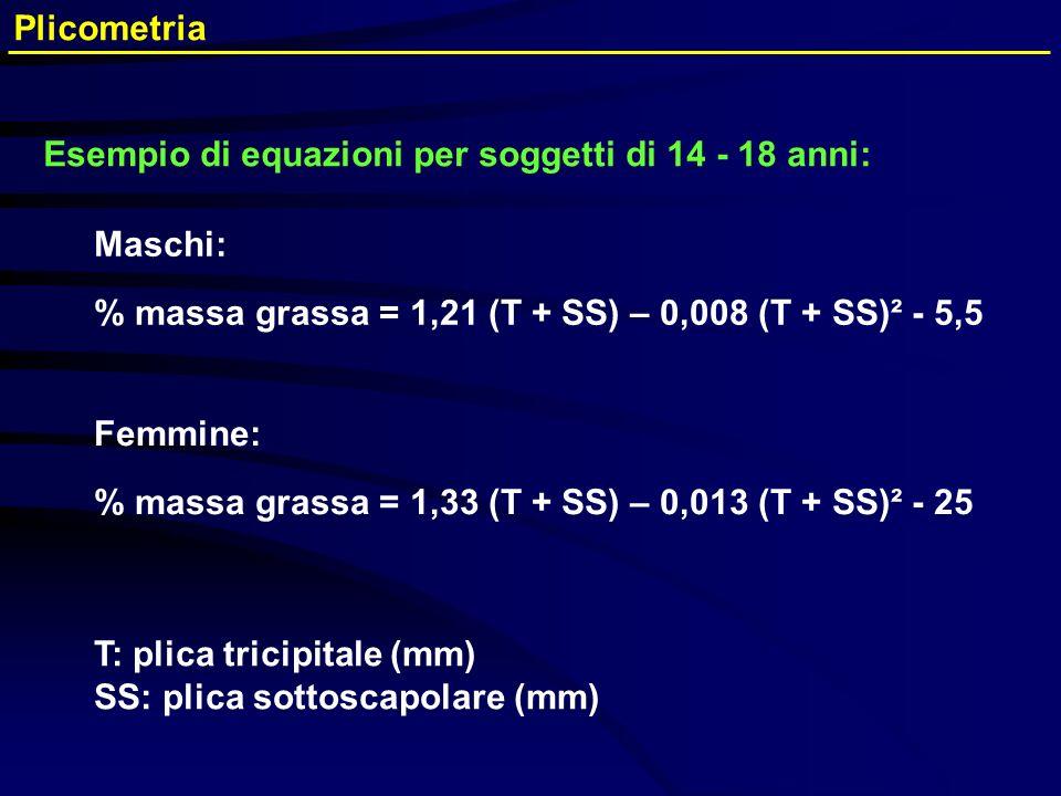 Femmine: % massa grassa = 1,33 (T + SS) – 0,013 (T + SS)² - 25 Maschi: % massa grassa = 1,21 (T + SS) – 0,008 (T + SS)² - 5,5 T: plica tricipitale (mm