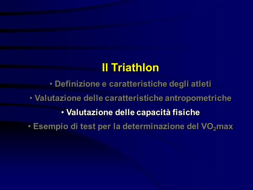 Il Triathlon Definizione e caratteristiche degli atleti Valutazione delle caratteristiche antropometriche Valutazione delle capacità fisiche Esempio d