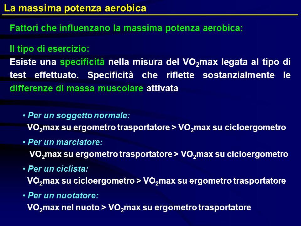 Il tipo di esercizio: Esiste una specificità nella misura del VO 2 max legata al tipo di test effettuato. Specificità che riflette sostanzialmente le