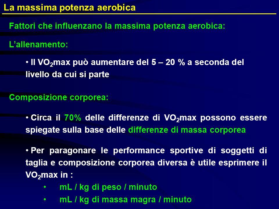 Lallenamento: Il VO 2 max può aumentare del 5 – 20 % a seconda del livello da cui si parte Composizione corporea: Circa il 70% delle differenze di VO