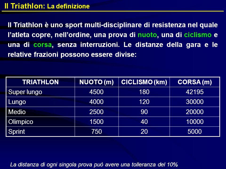 Il Triathlon: La definizione Il Triathlon è uno sport multi-disciplinare di resistenza nel quale latleta copre, nellordine, una prova di nuoto, una di