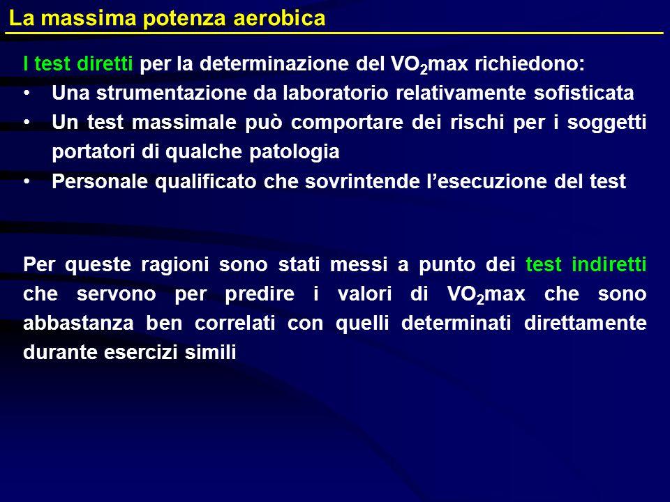 I test diretti per la determinazione del VO 2 max richiedono: Una strumentazione da laboratorio relativamente sofisticata Un test massimale può compor